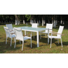 Aluminum Outdoor Garden Furniture Patio Dining Table and 6 Stack Dining Chair with Batyline Fabric